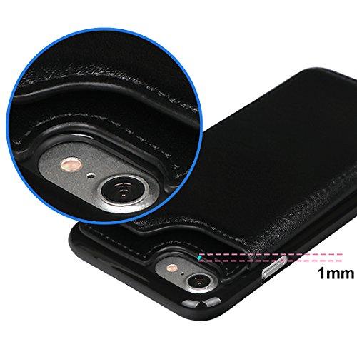 """xhorizon TM Strapazierfähiger stoßfester Brieftasche-Case aus hochwertigem PU-Leder, Rückseite-Folio Flip-Brieftasche-Case mit Kreditkartenschlitzen für iPhone 7 [4.7""""] mit einem 9H Ausgeglichen Glas  Schwarz + 9H Tempered Glass Film"""