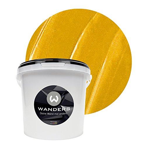 Wanders24 Metall-Optik (3 Liter, Gold) Wandfarbe zum Spachteln im Metallic Look, individuelle Gestaltung für Zuhause, Farbe Made in Germany
