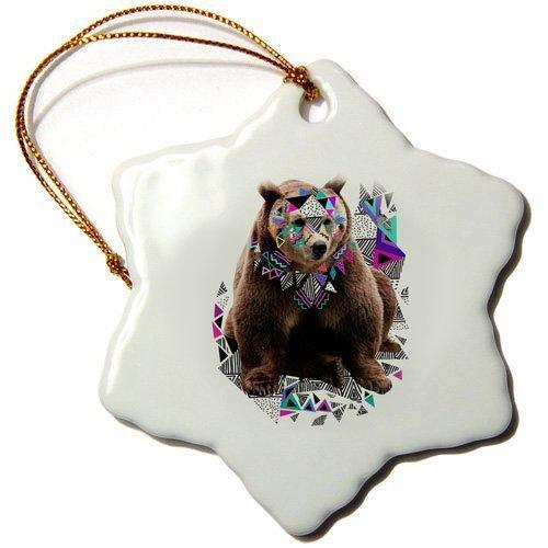 Orsetto decorazioni natalizie in ceramica decorazioni a stella di Natale stampato, doppio lato