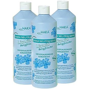 HAKA Neutralseife Flüssig I 3x1 Liter Neutralreiniger I Universalreiniger für Haushalt und Auto I PH-neutrales Reinigungsmittel I Biologisch abbaubar