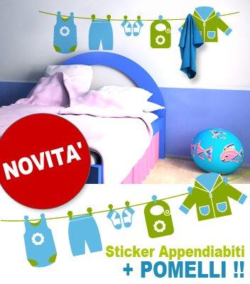 Adesivi Creativi adesivo sticker murale Appendiabiti bimbo con pomelli Dimensioni 150 X 36 cm | (36 Sticker Murale)