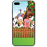 ZZHOO Compatible with iPhone 7/8 Plus Case, Composition Cute Farm Animals on Fence...