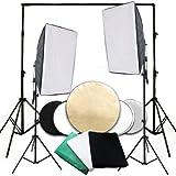 PMS® Hintergrundsystem Fotostudio Foto Zubehör 2 x 2,8 m Hintergrund inkl. 1,6 x 3 m Hintergrundstoff weiss weiß Grün Schwarz Screen 80W 5500K Fotolampe Stativ Softbox 5in1 Reflektor Komplett Set