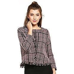 HOTOUCH Las mujeres blusa del suéter de la borla de la tela escocesa del gota-Hombro