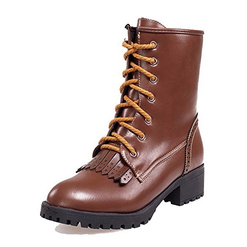 agoolar-womens-lace-up-low-heels-pu-solid-low-top-boots-brown-41