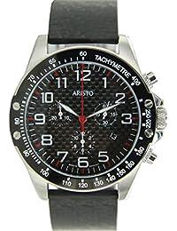 Aristo Reloj de hombre cronógrafo Carbono Acero Inoxidable Trophy Pasador 4h157