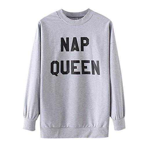 Domybest Mode NAP Queen Sweatshirt für Frauen lustige Coole Pullover (grau) (M)