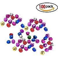 Isuper Cascabeles Multicolores Tintineo Jingle Bells Colgantes Pequeños Decoración Navidad Fiesta 100 pcs