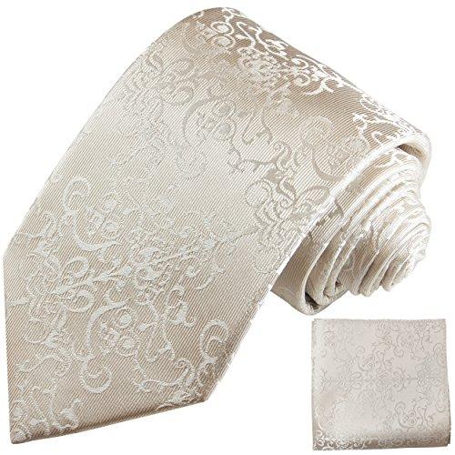 Elfenbein Hochzeitskrawatten Set 2tlg floral Krawatte + Einstecktuch Paul Malone