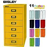 Bisley Schubladenschrank aus Metall mit 6 Schüben | Schrank für Büro, Werkstatt und Zuhause | Stahlschrank in Zinkgelb