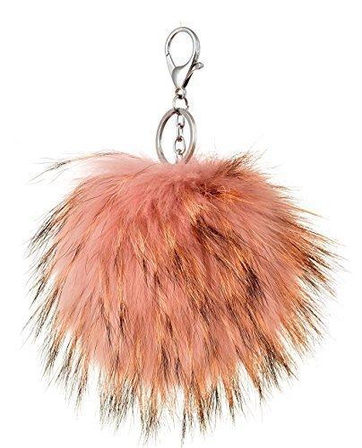 Haute Für Divas Womens Von Promis Inspiriert Flauschig Weicher Echte Fox Pelz Schlüsselring Schlüssel Kette Handtasche Zubehör - Hellrosa, M