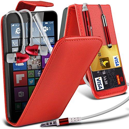 Aventus (Red) Microsoft Lumia 640 XL custodia, caso, Case Protective Elegant Cove Case PU cuoio (Auricolari Mani Auricolare Kit Libero)