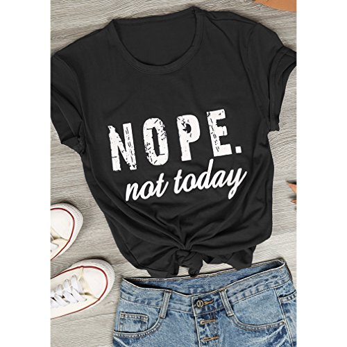 LnLyin Women Casual Nope Not Today Letter Printed Blouses Shirts Short  Sleeve Cotton Tops T- 95ae062091