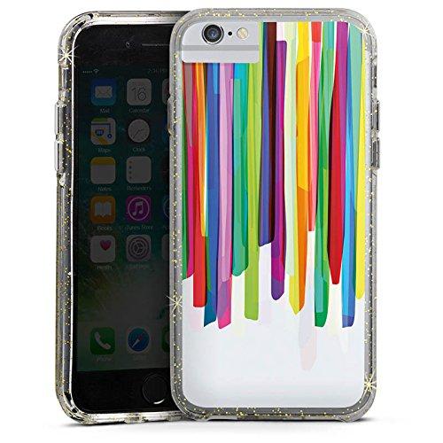 Apple iPhone 8 Bumper Hülle Bumper Case Glitzer Hülle Farben Streifen Stripes Bumper Case Glitzer gold