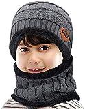 Petrunup Ensemble Bonnet et Écharpe en Tricot d'hiver pour Enfant 2 Pièces Bonnet de Ski Tricoté Épais Doux et Chaud avec Doublure en Polaire pour Garçons Filles Gris