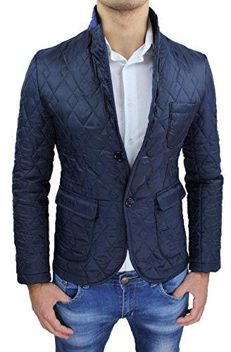 Giubbotto giacca uomo blu slim fit casual elegante invernale 100% made in Italy piumino (S)
