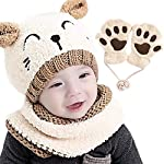 Gifort Baby Kids Winter Hat Scarf and Gloves 3pcs/Set, Boy Girls Knitted Warm Beanie Cap with Neckerchief Circle Loop Scarf Crochet Hat and Neck Warmer Set (Beige)