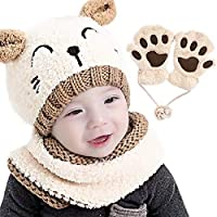 Gifort Baby Kids Winter Hat Scarf and Gloves 3pcs/Set, Boy Girls Knitted Warm Beanie Cap with Neckerchief Circle Loop Scarf Crochet Hat and Neck Warmer Set (Beige)