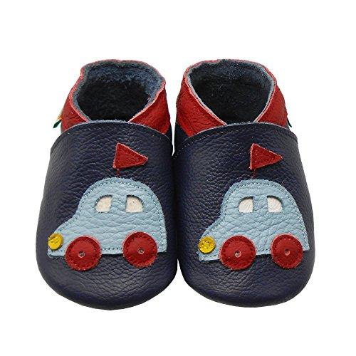 Sayoyo Baby Auto Lauflernschuhe Leder Weiche Sohle Baby Mädchen Baby Jungen Kugelsicherer Krippe Enfants Schuhes Navy Blau Navy Blau