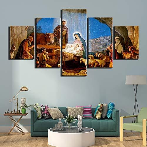 5 Stück HD Wandkunst Bild Christentum Malen auf Leinwand Wohnzimmer Dekor nach Hause Modular Modern Plakate Rahmen,B,10×15×2+10×20×2+10×25×1