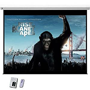 """New 100"""" Electric HD Projector Screen 16:9 Matt White Screen Wall, Ceiling Mountable Support Wipe Clean with Remote"""