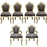 Casa Padrino barroco vajilla 4 sillas + 2 sillas con apoyabrazos - Muebles de estilo antiguo