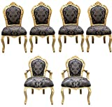Casa Padrino barroco vajilla 4 sillas + 2 sillas con apoyabrazos - Muebles de estilo antiguo Casa Padrino Baroque Dinner Set Chair Set Black Pattern / Gold - 4 chairs without armrests 2 chairs with armrests - furniture antique style