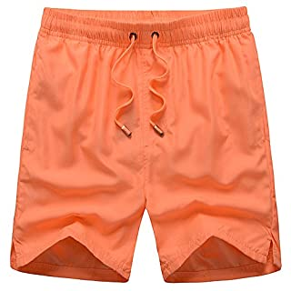 Alicemall Men's Swimming Trunks Home Swim Sports Wear (L, Orange)