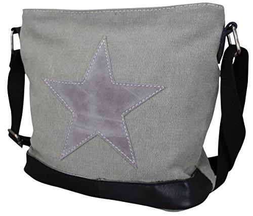 PiriModa Damen Stern Handtasche Schultasche Clutch TOP TREND Tragetasche (Modell 3 Grau) -