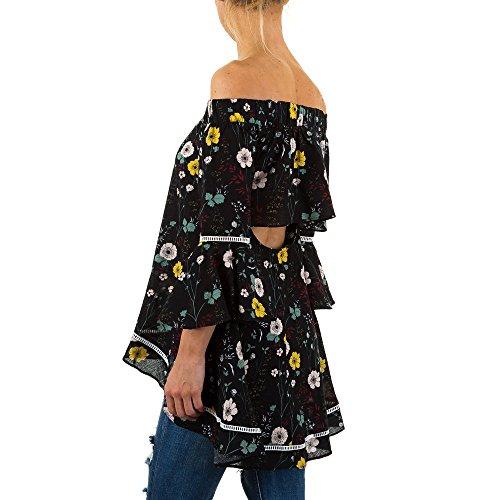 Gemusterte Off Shoulder Tunika Für Damen bei Ital-Design Schwarz