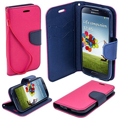 BOOK CASE FANCY für Apple iPhone 7 Plus Cover Handy Tasche Flipcase Etui Buchform Kunststoff TPU Halterung für Kreditkarten (pink / marineblau) pink / marineblau