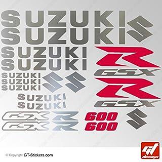 Aufkleber Suzuki GSX 600–Brett zweifarbig XXL–Chrom/Rot–GSXR, GSX R, Sticker, selbstklebend, Aufkleber, gt-design