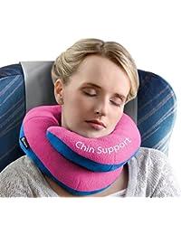 Oreiller de voyage BCOZZY avec support pour le menton – soutient la tête, le cou et le menton pour un maximum de confort en position assise. Produit breveté. (ROSE, TAILLE ADULTE)