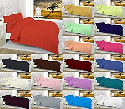 Maria Luxury Bedding & Linen - Plain Dyed Luxury Bed Set Duvet Cover Set with 2 Matching Pillowcases - low-cost UK light store.
