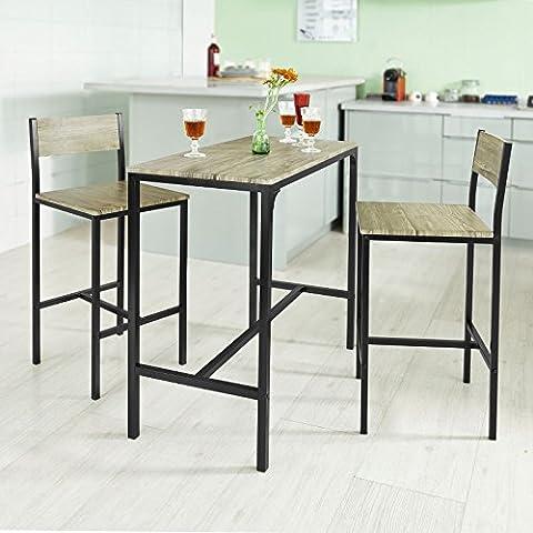 SoBuy® Bar Set--1 Bar Table and 2 Stools, Home Kitchen Restaurant Bar Set Furniture Dining Set, OGT03