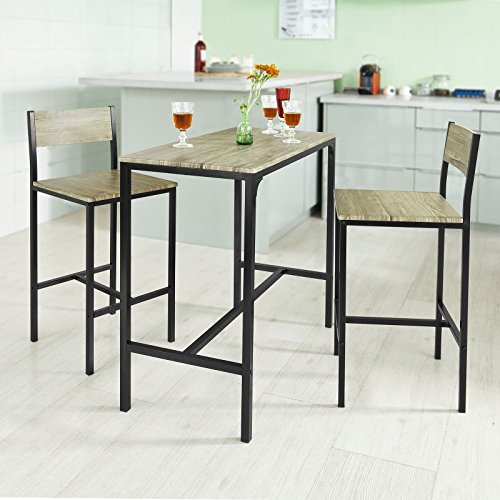 SoBuy® Bar Set--1 Bar Table and 2 Stools, Home Kitchen Restaurant Bar Set Furniture Dining Set, OGT03