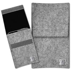 SIMON PIKE Hülle Handytasche Sidney 1 grau für Apple iPhone 5S 5C 5 aus Filz