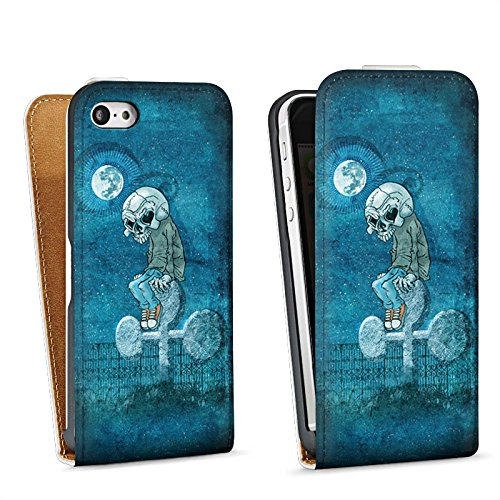 Apple iPhone 5 Housse Étui Silicone Coque Protection Poker Crâne Mort Sac Downflip blanc