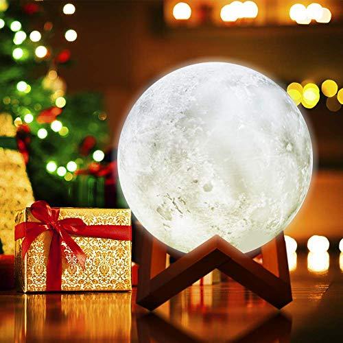 Luna Lampara, The perseids Lámpara Luna 3D, Lámpara de Noche 15cm, Con Cargador USB para Dormitorio, Salón, Café Bar, Regalo, Fiesta y Decoración