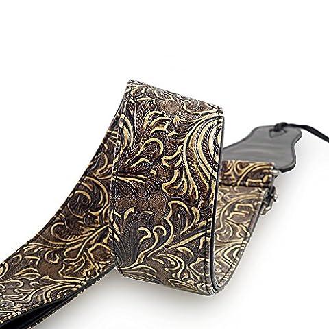 Mugig Gitarrengurt einstellbare Länge 95-157cm Tragegurt aus PU Leder für Konzertgitarre Westerngitarre E-Gitarre und