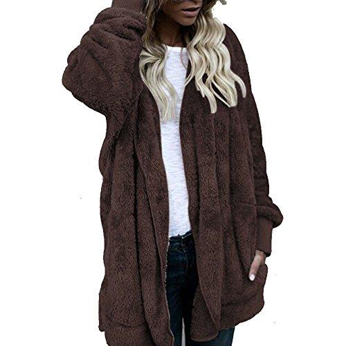 Manteau femme long hiver chaud chic, Youngii Sweat à capuche vêtements Décontractée ermeture éclair Veste Chandail Vêtements Café