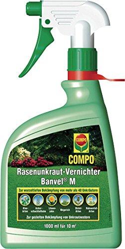 COMPO Rasenunkraut-Vernichter Banvel M AF, Bekämpfung von breitblättrigen Unkräutern im Rasen, Andwendungsfertig, 1 Liter