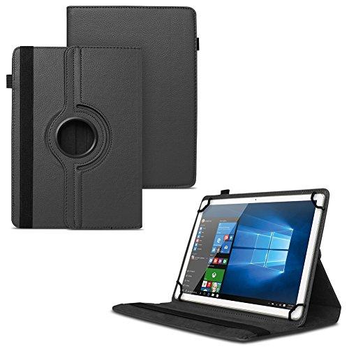 UC-Express NAUCI Odys Cosmo Win X9 Odys Winpad X9 Tablet Universal Schutzhülle aus Kunstleder Hülle Tasche Standfunktion 360° Drehbar Cover Case, Farben:Schwarz