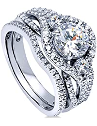 BERRICLE Rhodium Plated Sterling Silver Round Cut Cubic Zirconia CZ 3-Stone Engagement Ring Set