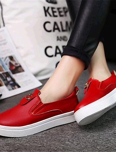 ZQ gyht Scarpe Donna-Mocassini-Tempo libero / Casual-Comoda-Piatto-Finta pelle-Nero / Rosso / Bianco , red-us8 / eu39 / uk6 / cn39 , red-us8 / eu39 / uk6 / cn39 white-us6.5-7 / eu37 / uk4.5-5 / cn37