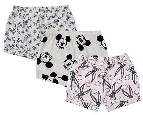 Sofie & Sam Bio-Baumwolle 3er Pack Combo 6-9 Monate Baby Shorts - Kaninchen, Blume & Maus
