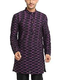 SHOWOFF Men's Cotton Full Sleeve Regular Fit Self Design Black Kurtha (Utsavkurtha094)
