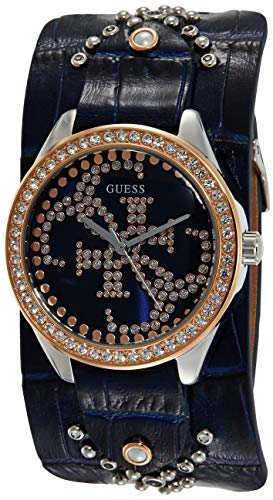 Guess Heartbreaker Damen-Armbanduhr Analog Quarz Leder W1140L3 (Silberne Frauen, Guess Uhren Für)