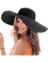 Dafunna Donne Cappello Tesa Larga Elegante Cappello Protezione UV Paglia da  Cappello della Spiaggia Pieghevole Floscio f2de292949aa