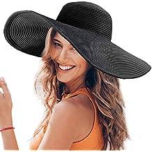 Dafunna Sombrero De Paja para Señoras Straw Sombrero Pamela De Sol Plegable  De ala Ancha para 85cf9e6a86f